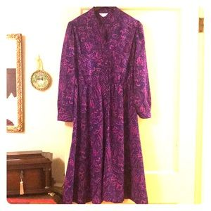 Vintage Paisley Floral Shirt Dress Sz M